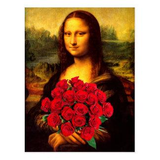 赤いバラの花束を持つモナ・リザ ポストカード