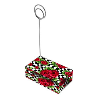 赤いバラの花束市松模様になる花愛ロカビリー テーブルカードホルダー