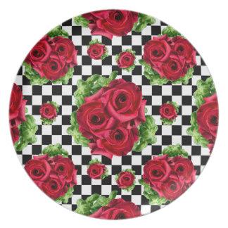 赤いバラの花束市松模様になる花愛ロカビリー パーティープレート