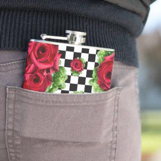 赤いバラの花束市松模様になる花愛ロカビリー フラスク