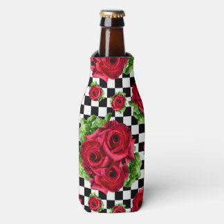赤いバラの花束市松模様になる花愛ロカビリー ボトルクーラー