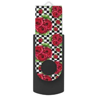 赤いバラの花束花愛ロカビリー USBフラッシュドライブ