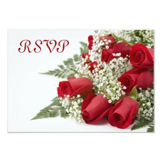 赤いバラの花束RSVPカード カード