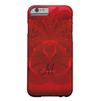 赤いバラの花盛りのフラクタルのモノグラムのiPhone6ケース Barely There iPhone 6 ケース