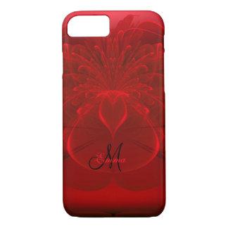 赤いバラの花盛りのフラクタルのモノグラムのiPhone 7の場合 iPhone 8/7ケース