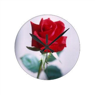 赤いバラの花 ラウンド壁時計