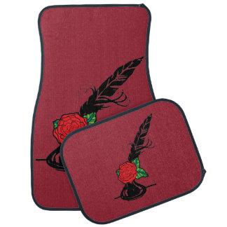 赤いバラの赤い自動マットが付いているクイルそしてインク カーマット