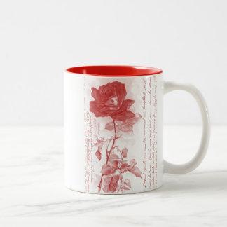 赤いバラの郵便はがきのデザイン ツートーンマグカップ