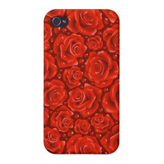 赤いバラのiPhone 4の光沢のある終わりの場合 iPhone 4/4Sケース