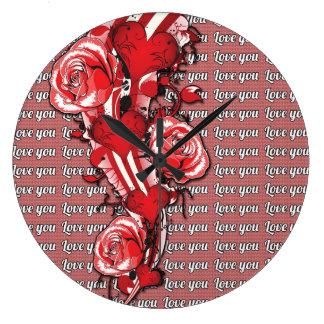 赤いバラは熱し、愛し、 ラージ壁時計