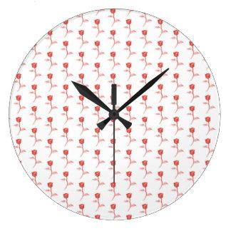 赤いバラパターン ラージ壁時計