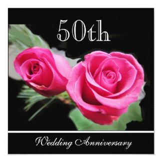 赤いバラ第50の結婚記念日の招待状 カード