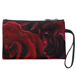 赤いバラ袋 スエードクラッチ