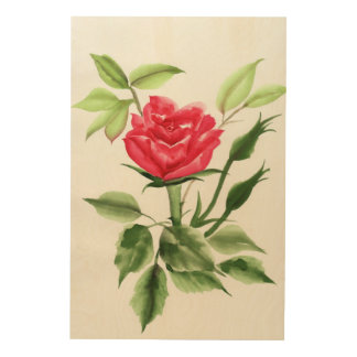赤いバラ ウッドウォールアート