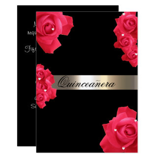 赤いバラ、キンセアニェラのカスタムな招待状 11.4 X 15.9 インビテーションカード