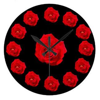 赤いバラ ラージ壁時計