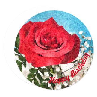 赤いバラ-花の陽気な芸術のハッピーバースデー 13.3 スクエアインビテーションカード