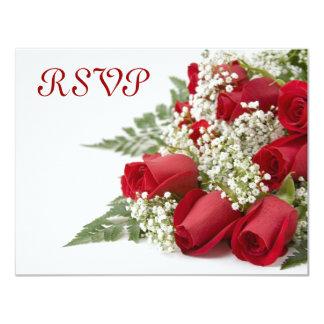 赤いバラRSVPカード カード