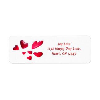 赤いバレンタインのハート ラベル