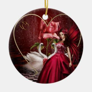 赤いバレンタインデーの妖精 セラミックオーナメント