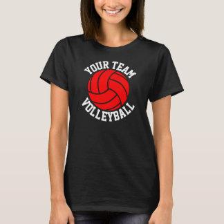 赤いバレーボールのカスタムなチーム名前の女性の黒いティー Tシャツ