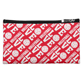 赤いバレーボール愛化粧の付属品のバッグ コスメティックバッグ