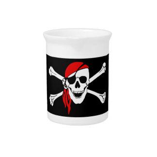 赤いバンダナとの海賊どくろ印 ピッチャー