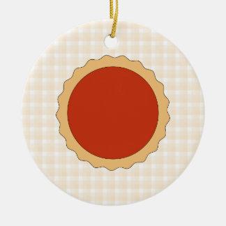 赤いパイ。 いちごのタルト。 ベージュ点検 セラミックオーナメント