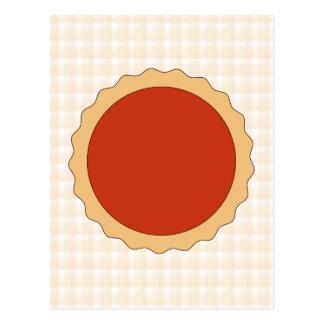 赤いパイ。 いちごのタルト。 ベージュ点検 ポストカード