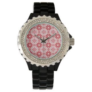 赤いパターン 腕時計