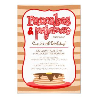赤いパンケーキおよびパジャマの誕生会 マグネットカード