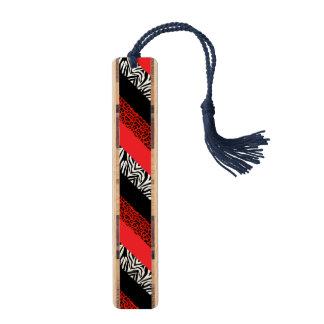 赤いヒョウおよびシマウマのカスタムのアニマルプリント ブックマーク
