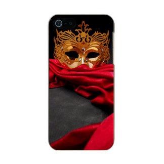 赤いビロードの仮面舞踏会のための飾られたマスク メタリックiPhone SE/5/5sケース