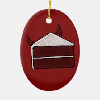 赤いビロードの悪魔のケーキ セラミックオーナメント