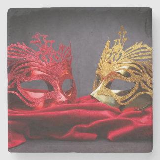 赤いビロードの飾られた仮面舞踏会のマスク ストーンコースター