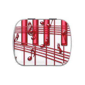 赤いピアノキーボードのキャンディー缶 缶入りキャンディー