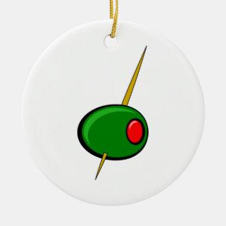 赤いピメントを持つグリーンオリーブ セラミックオーナメント