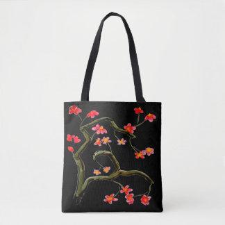 赤いピンクのさくらんぼの花の花のアクセントの黒 トートバッグ