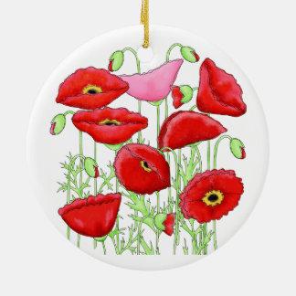 赤いピンクのケシの芸術のカスタムな庭師の花柄 セラミックオーナメント