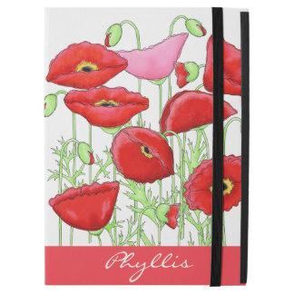 """赤いピンクのケシの芸術の名前をカスタムするのモノグラム iPad PRO 12.9"""" ケース"""