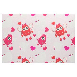 赤いピンクのハートのバレンタインかわいいモンスター愛ギフト ファブリック