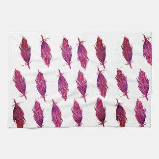 赤いピンクの水彩画の羽のふきん キッチンタオル