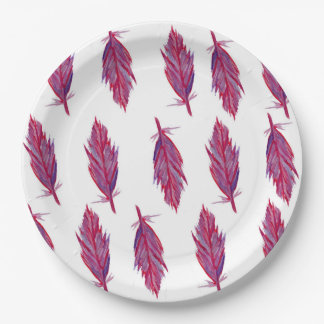 赤いピンクの水彩画の羽の紙皿 ペーパープレート