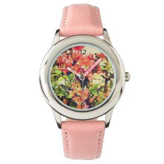 赤いピンクの水彩画の花パターン1 腕時計