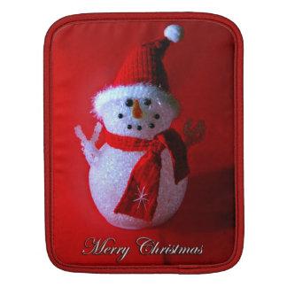 赤いピースサインの雪だるま(メリークリスマス) iPadスリーブ