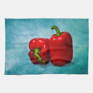 赤いピーマン キッチンタオル