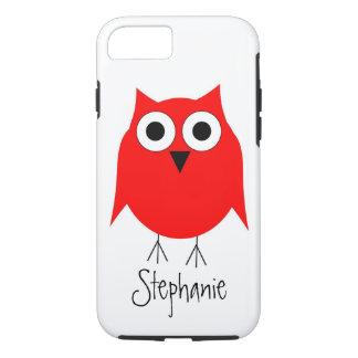 赤いフクロウはちょうど名前を加えます iPhone 8/7ケース