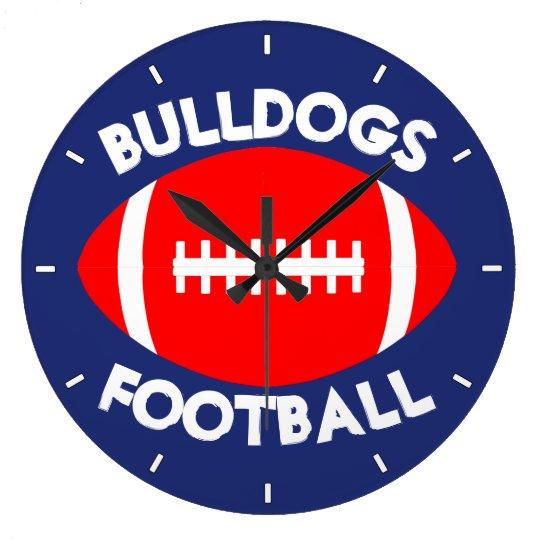 赤いフットボールのカスタムなチーム名前または文字および色の時計 ラージ壁時計