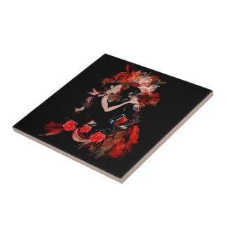 赤いフラクタルのロマンチックなタンゴのダンサー タイル
