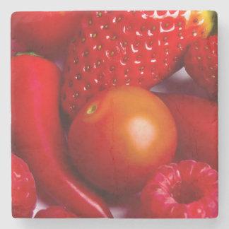 赤いフルーツか野菜の石造りのコースター ストーンコースター